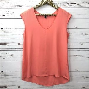 J Crew Coral Cap Sleeve Sheer Shirttail Blouse